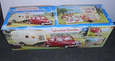 Sylvanian Ex-Display Caravan & Family Saloon Car, Plus Free Mice Family.