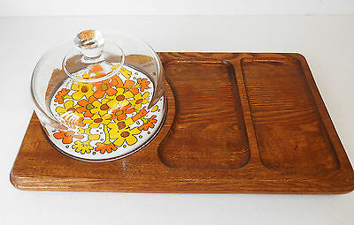 Retro Goodwood Wooden Cheese/Hors D'oeuvres Platter Serving Tray w/Dome Retro