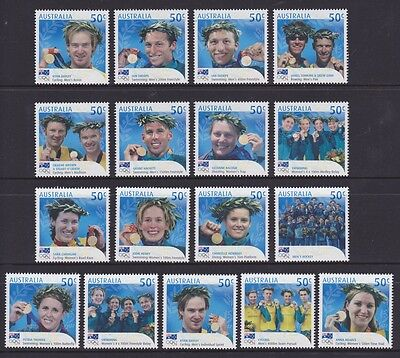 Australia 2004 Athens Olympics Gold Medallists set of 17 MUH** stamps