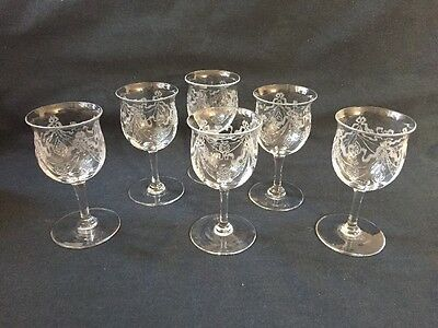 Set Of 6 Victorian Glasses With Etched Design - Lovely (ref P615)