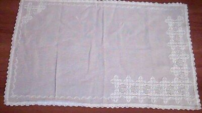 "White Cotton Embroidered Tray Cloth, 19""x12"""