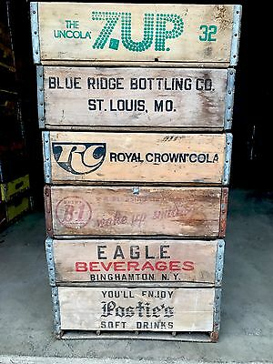 6 Vintage Wood Soda Crates 7up Eagle RC  & More 12 Divider Crates