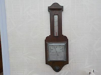 Wooden vintage wall  barometer thermometer collectable old ornament wood ware