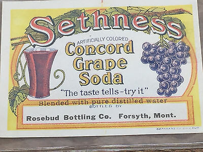 Vintage Sethness Concord Grape Soda Labels ~ Rosebud Bottling Co.- Forsyth,MT.