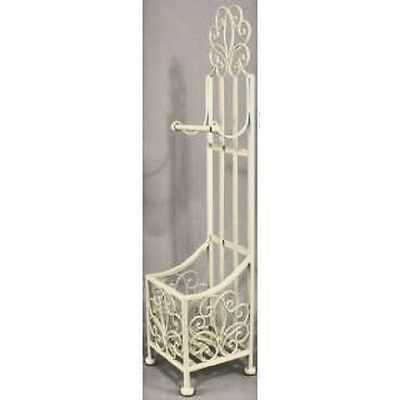 Shabby Chic Toilet Roll Holder Stand Free Standing With Storage Ivory / Cream