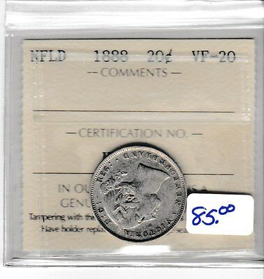 Canada 1888 NFLD 20 cent silver ICCS  VF-20