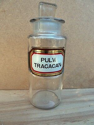 Antique Small Apothecary / Chemist / Pharmacy Bottle - Pulv: Tragacan: