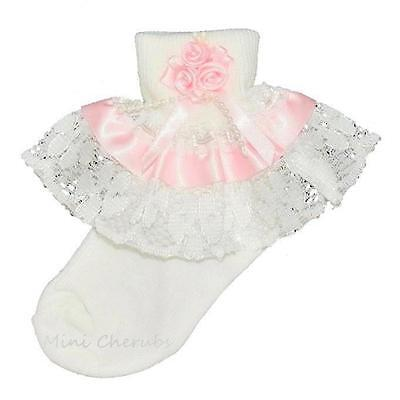 Baby Girls White Frilly Lace Pink Rose Cluster Socks With Pink Ribbon Trim