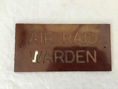 WW2 Air Raid Warden Bakelite Wall Sign ARP Home Front Home Guard Civil Defence