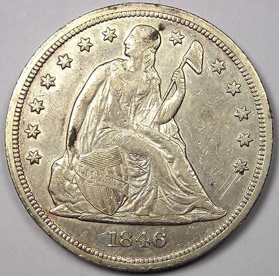1846 Seated Liberty Silver Dollar $1 - AU Details - Rare Early Type Coin!