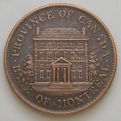 1842 PC-1A2 Province Of Canada Canadian Colonial Bank Of Montreal 1/2 P Token