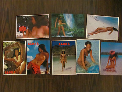 Lot of 8 Hawaii postcards Aloha topless nude photos by T. A. Sylvain vintage