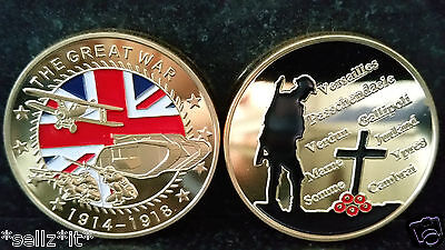 World War 1 THE GREAT WAR British Remembrance Troops Union Jack Gold Coin Poppy