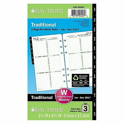 Day-Timer Weekly Planner Refill 2017 Two Page Per Week Loose Leaf 3-3/4 x 6-3...