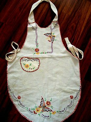 Apron Vintage Hand Embroidered