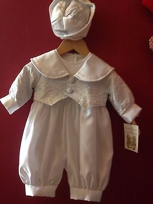 Boys white/silver Christening outfit with hat,  age 3-6 months BNWTS