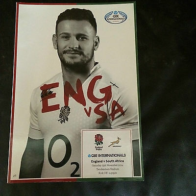 ENGLAND v SOUTH AFRICA 2014 RUGBY UNION AT TWICKENHAM (COVER PRICE  £6)