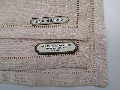 Antique Vintage IRISH Linen Hemstitch Dinner Napkin Placemat Set NOS