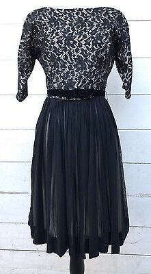 Vintage Lace 1950's Party Cocktail Dress XS Mad Men Style