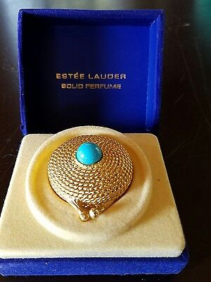 Estee Lauder GOLDEN TURQUISE YOUTH DEW SOLID PERFUME Compact FULL&BOX