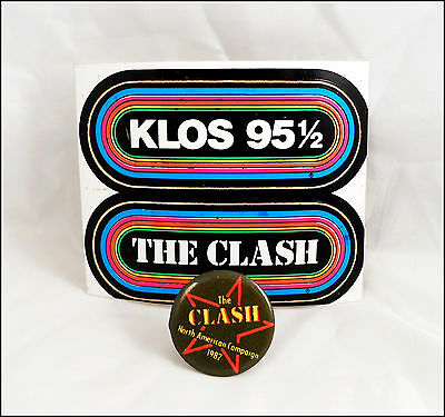 The Clash 1982 North American Campaign Tour Button & KLOS LA Radio Stickers