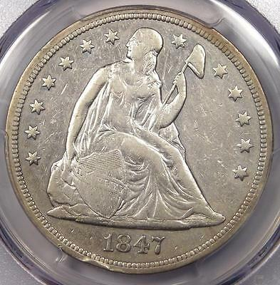 1847 Seated Liberty Silver Dollar $1 - PCGS XF Details - Rare Certified Coin!