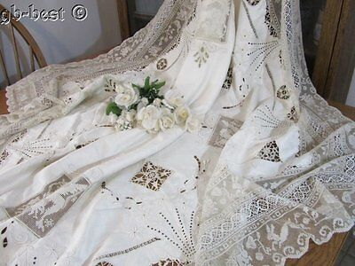 Exquisite Antique Needle Filet NET LACE Linen Tablecloth Figural Paddd Emb MONOG