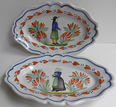 Pr French Oval Plates Unmarked in the Manner of Quimper ?