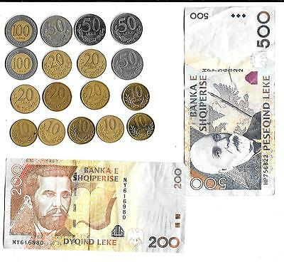 Odd Lot Of Albania Foreign Leke Coins + 2 Paper Notes - VG              (V)
