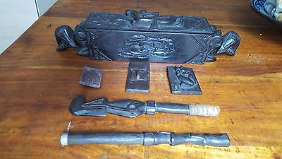 Hand Carved Dayak [Dyak] Black Wood Ethnic Tattoo Kit