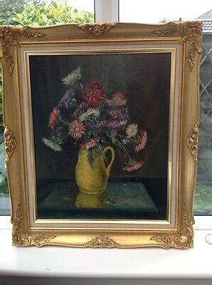 Large Vintage (1963) Oil Painting On Board Still Life Flowers Kenneth Lane