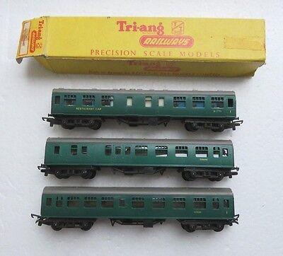 3 Triang Tt Gauge Sr Green Composite Restaurant And Composite Cars Coaches