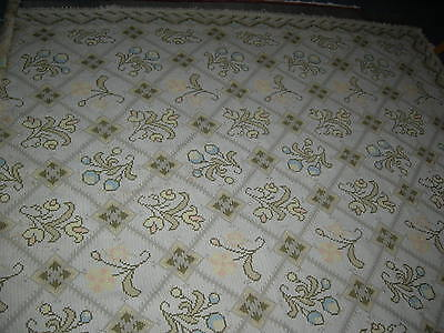 Vintage antique cream floral tapestry weighty large wool work rug / throw