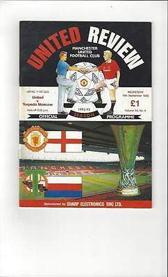 Manchester United v Torpedo Moscow UEFA Cup Football Programme 1992/93
