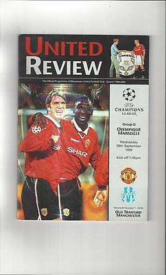 Manchester United v Olympique Marseille Champions League Programme 1999/00