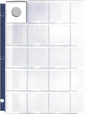"20 Pocket Coin Sheet - Album Page Fits 2"" X 2"" Holders - 3 Rings With Blue Band"