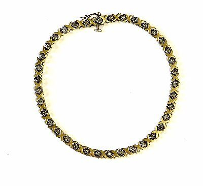 10k yellow gold .38ct round diamond SI1 H tennis bracelet 8.1g vintage XO 7 3/4""