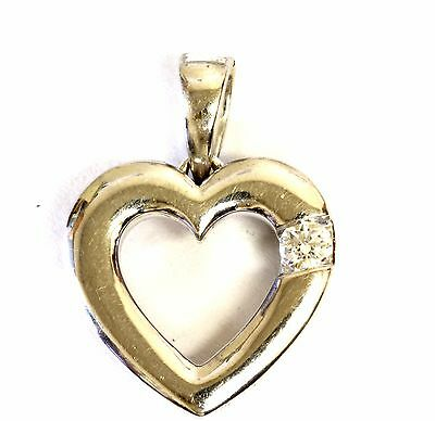 14k white gold .07ct diamond heart pendant slide 1.3g estate womens vintage