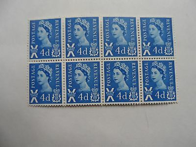 mint blk of 8 4d scotland stamps
