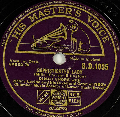 Schellackplatte - Dinah Shore - Star Dust / Sophisticated Lady - gramophone