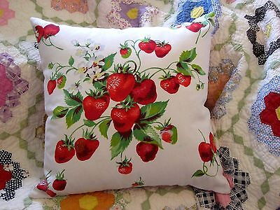 Vintage Wilendur Tablecloth Strawberries Throw Toss Pillow Cushion with Insert