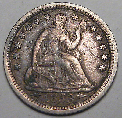 1853-O United States half dime in perhaps VF condition, surface hits