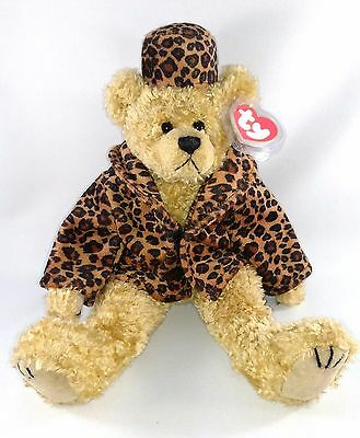 """Valentines TY TEDDY BEAR """"Puttin on the Ritz"""" ISABELLA Leopard Faux-Mink Outfit"""