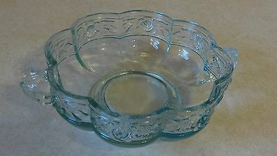 Jeannette Aztec Rose Light Blue Double Handled Bowl With Raised Floral Design