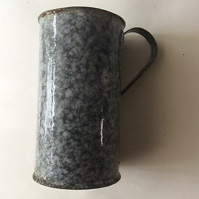 Grey enamel antique metal mug or cup / flagon.