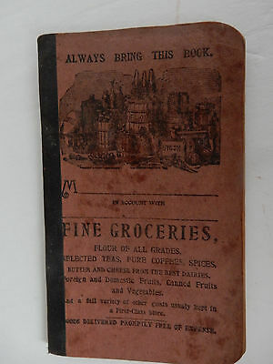 Vintage Lot 3 GROCERY GENERAL STORE LEDGER PERSONAL ACCOUNT ADVERTISING ANTIQUE