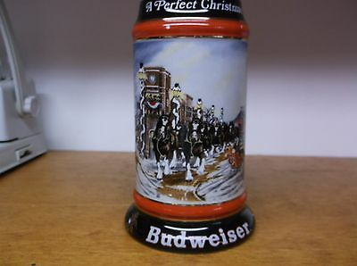 Budweiser A Perfect Christmas 1992 Collector Series Stein Very Good Condition