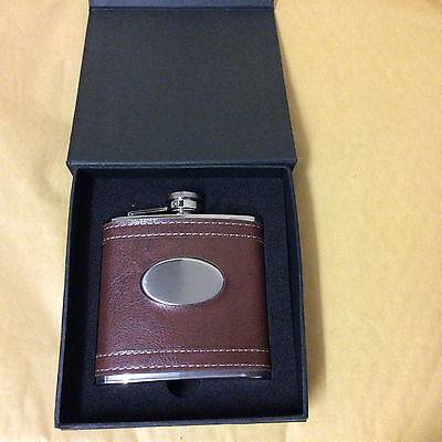 6Oz Stainless Steel Hip Flask Leather Whisky Flask In Presentation Box