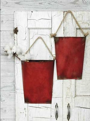 Galvanized Metal Hanging Wall Pockets~RED~S/2~Farmhouse Primitive~Valentine's