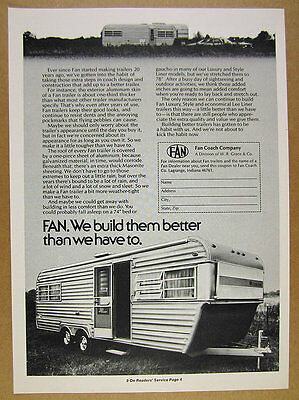 1974 Fan Luxury Liner Travel Trailer photo vintage print Ad